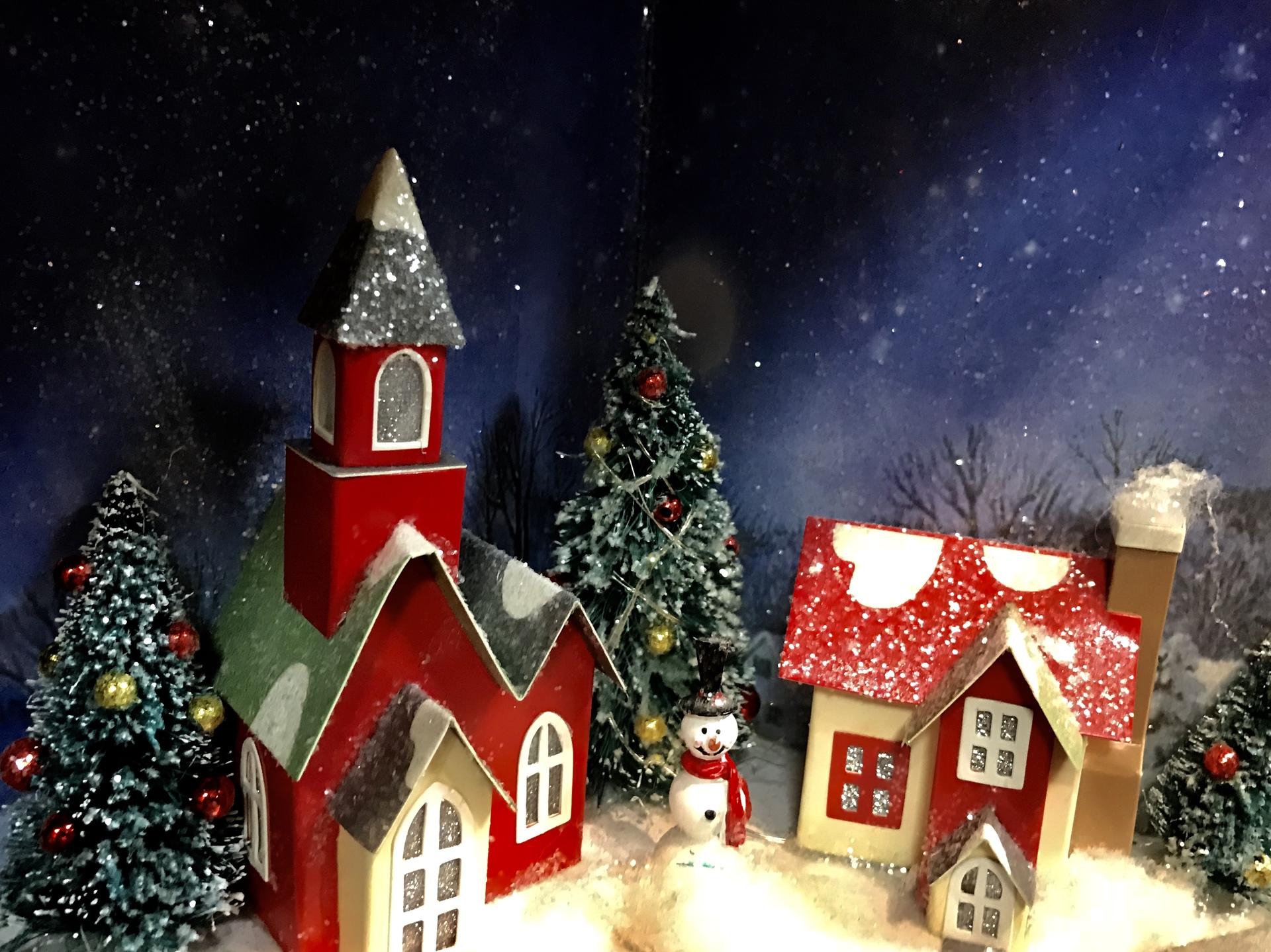 Christmas village    willowcatdesigns, winter, christmas tree, snow
