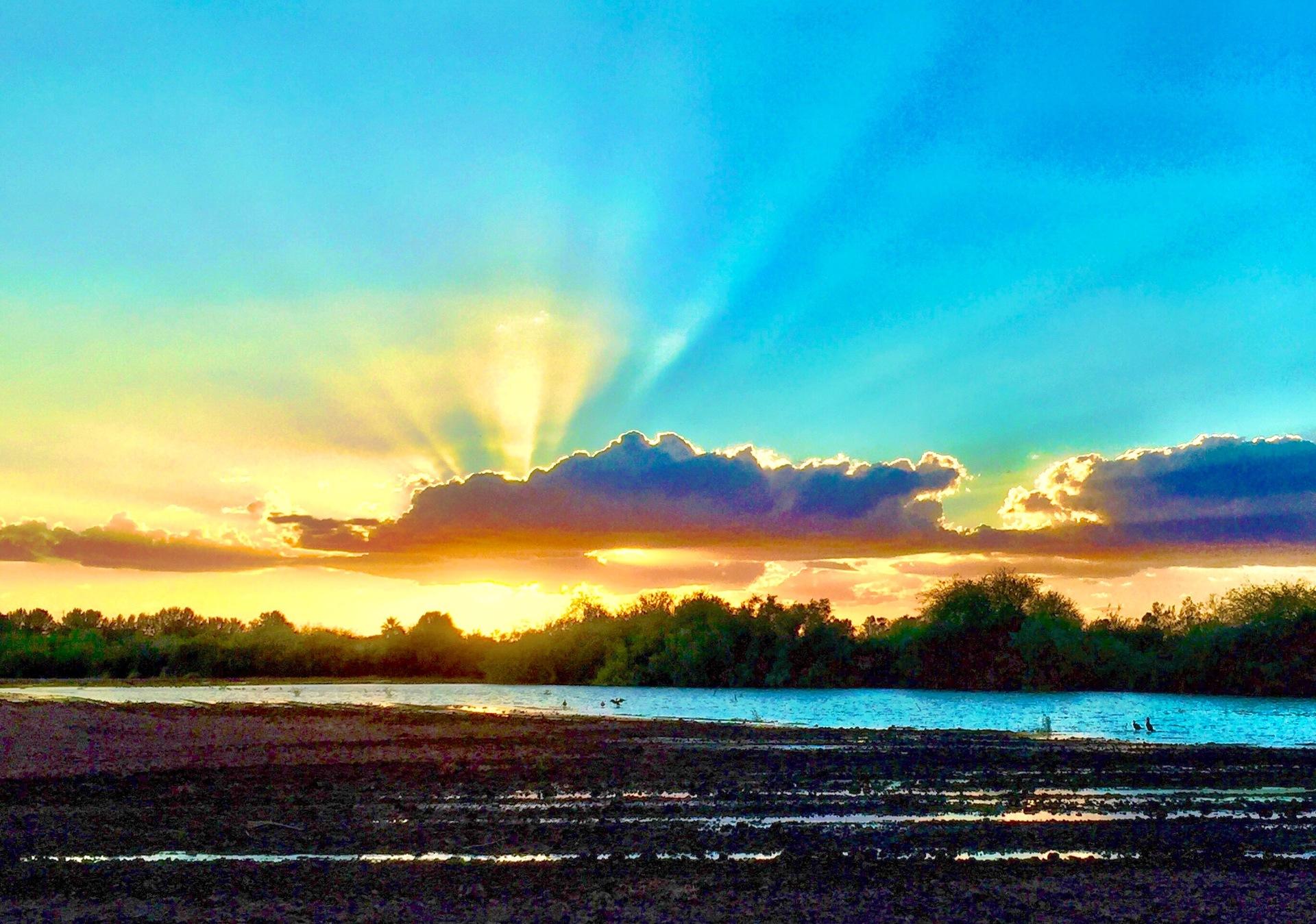 sunset   water, landscape, dawn, nature