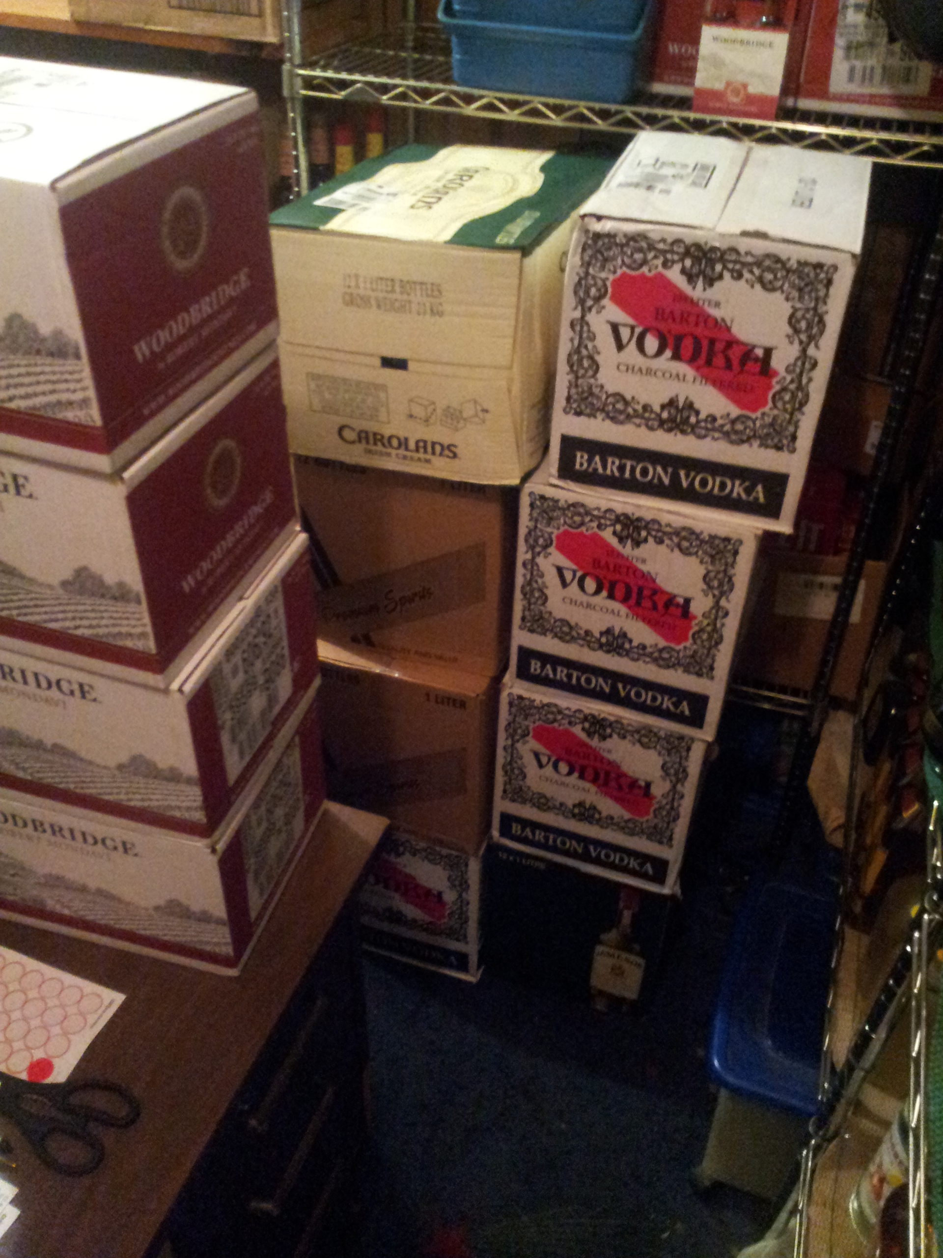 cases of liquor stacked. an order we recieved and I had to put away bottle by bottle.