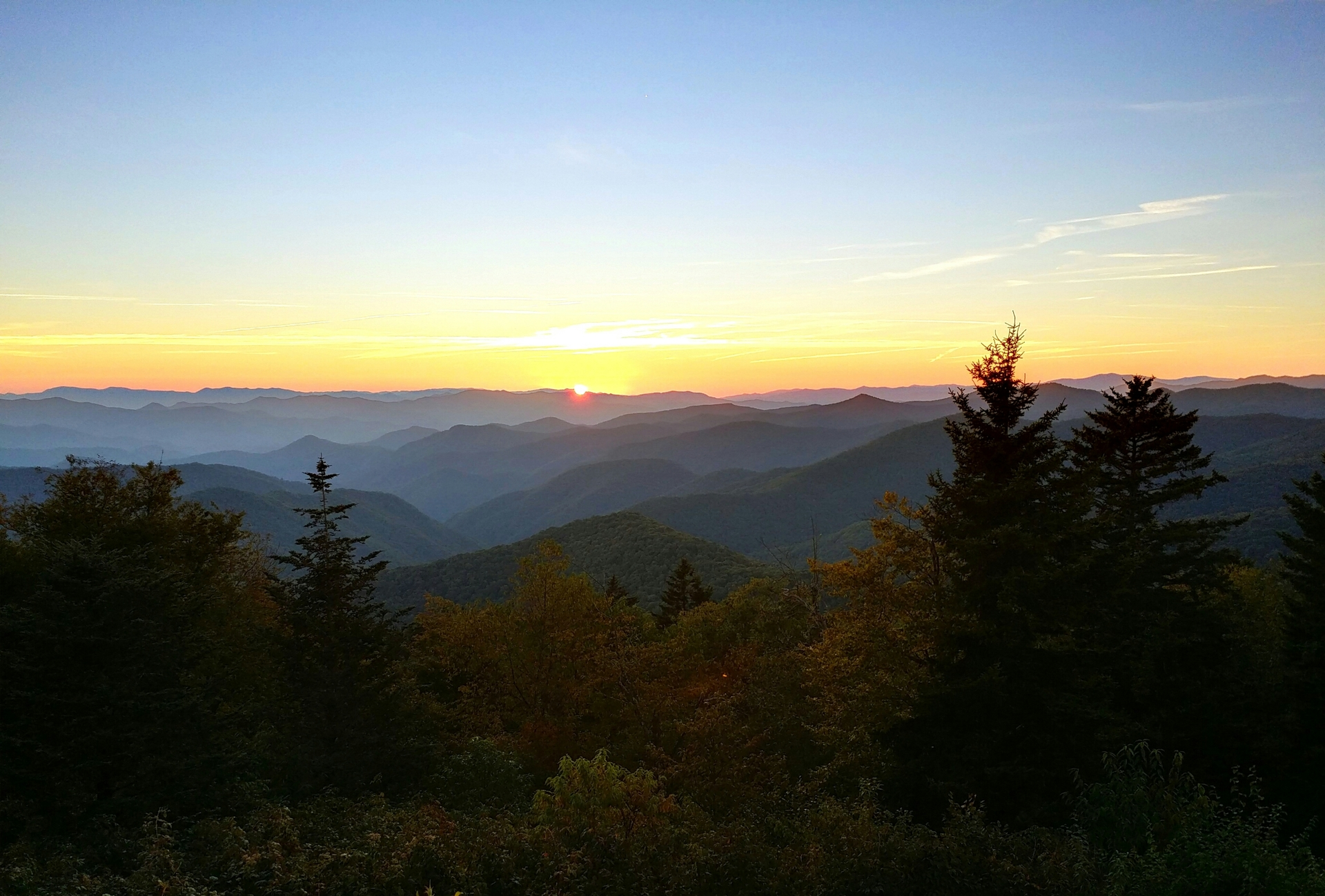 Blue Ridge Mountains Sunset. Sunset viewed from a Blue Ridge Parkway overlook