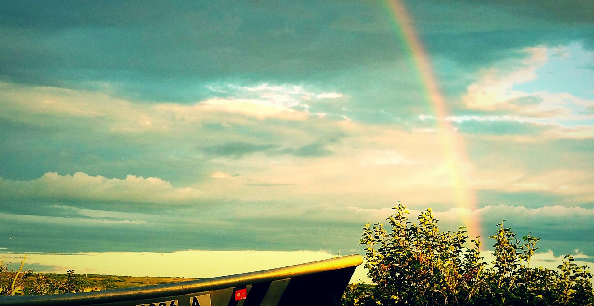 Rainbow over Naknek 2 | rainesjacque, sunset, rainbow, sky