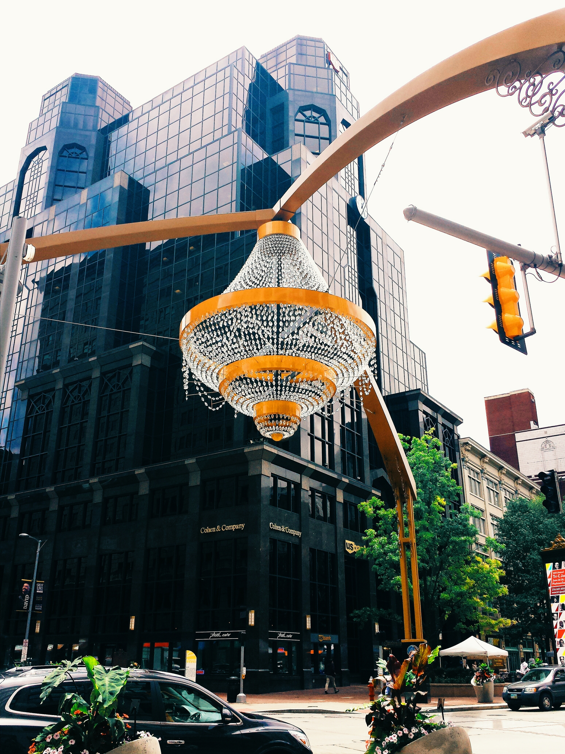 Foap Chandelier at an intersection Chandelier in the