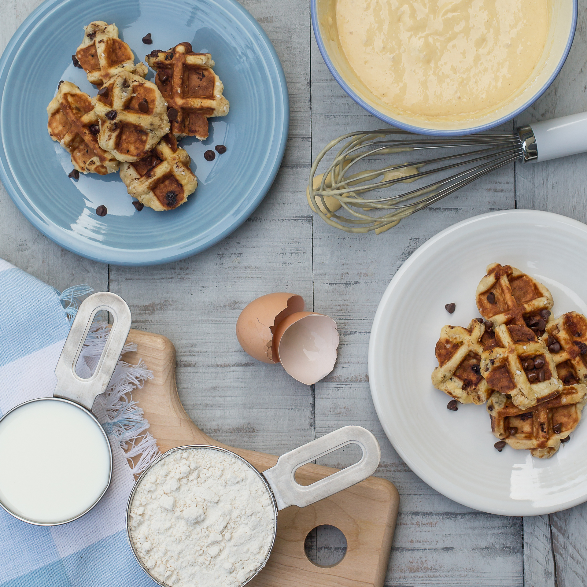 Waffles and ingredients | bowl, breakfast, food, homemade