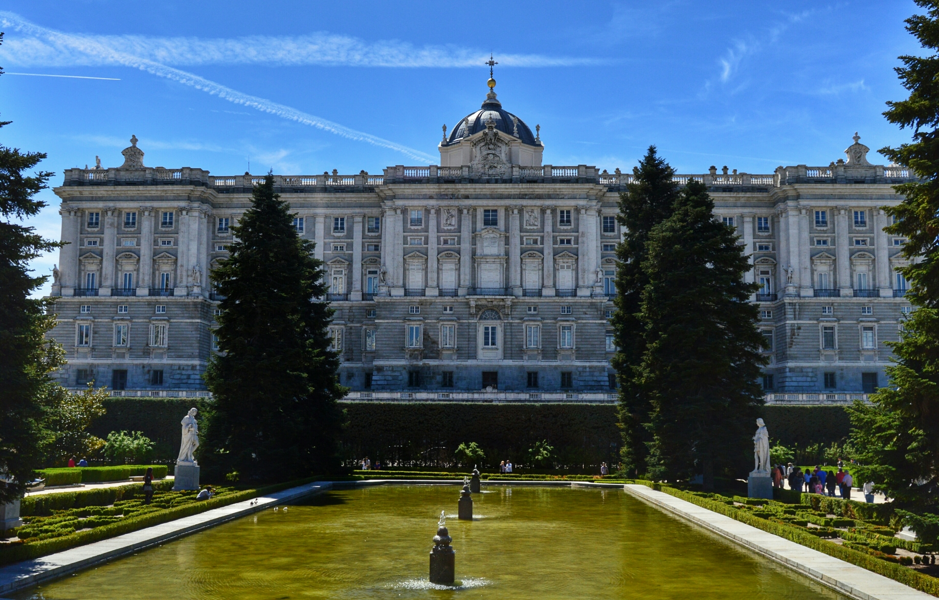 North side of the Royal Palace. View of the north side of the Royal Palace of Madrid from the Sabatini Gardens