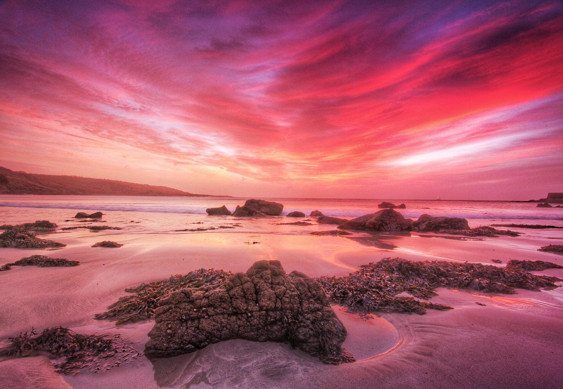 Dramatic sky reflecting in sea