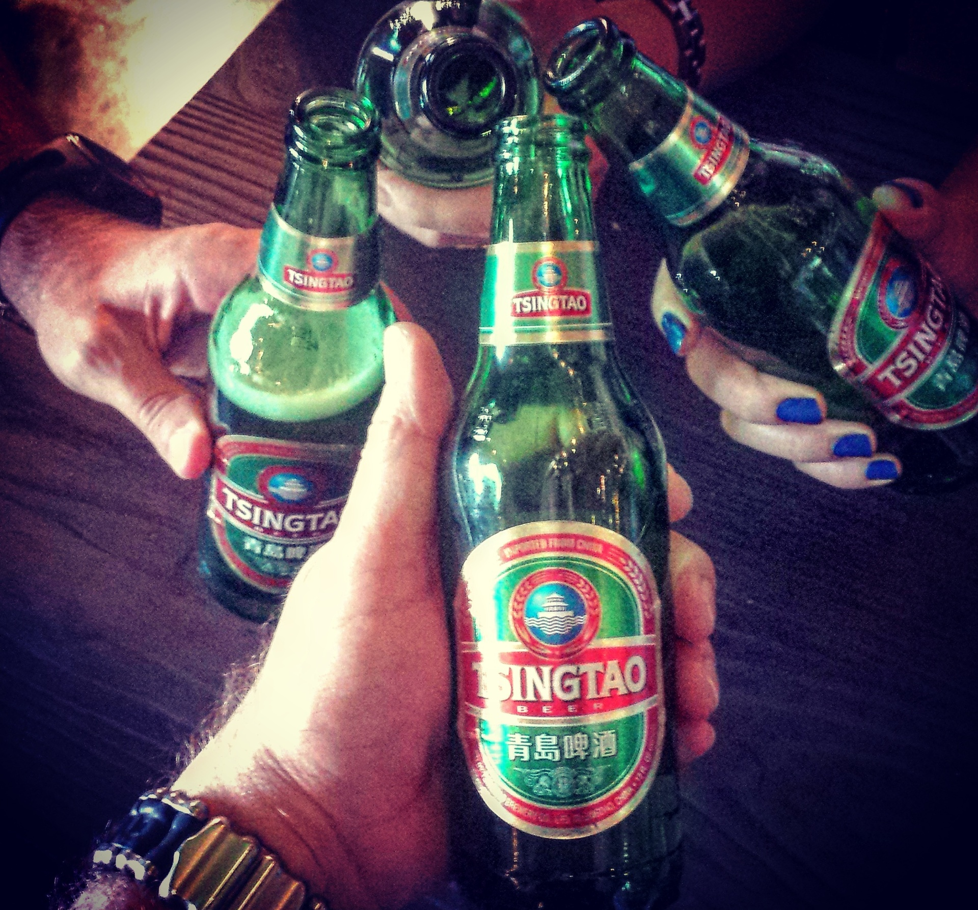 cheers! tsingtao beer time with friends